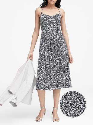 Banana Republic Petite Floral Pin-tuck Midi Dress