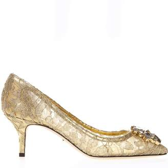 5a1e917be10f Dolce   Gabbana Bellucci Pumps In Lurex And Gold Lace With Brooch