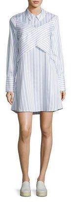 BCBGMAXAZRIA Azriel Striped Shirtdress, White/Blue $198 thestylecure.com