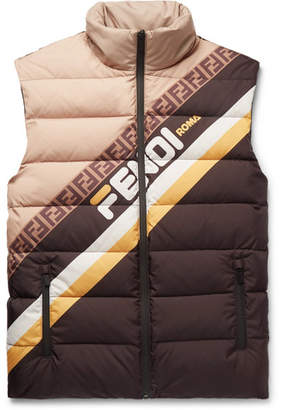 Fendi Logo-Print Quilted Shell Down Gilet