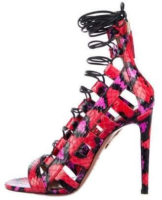 Aquazzura Amazon 105 Snakeskin Sandals