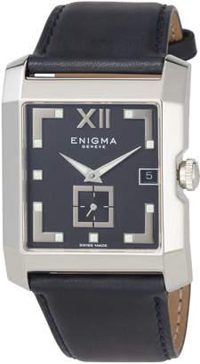 Bulgari Enigma By Gianni Square Date Watch w/ Leather Strap, Black