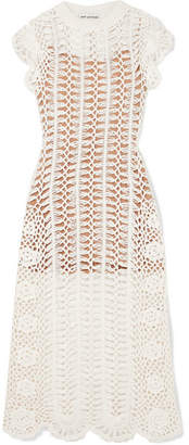Self-Portrait Crocheted Cotton Midi Dress - Cream