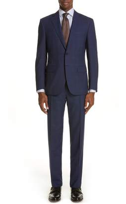 Canali Siena Soft Classic Fit Plaid Wool Suit