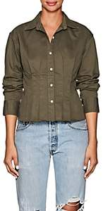 Current/Elliott Women's Tella Cotton Twill Pintuck Blouse - Green
