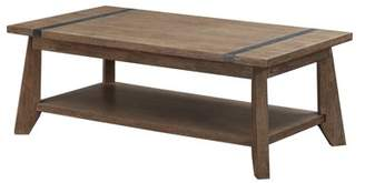 "Emerald Home Viewpoint Driftwood Gray 48"" Coffee Table with Open Storage Shelf And Metal Detailing"