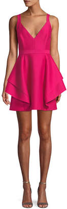 Halston Sleeveless Dramatic Flounce Mini Dress
