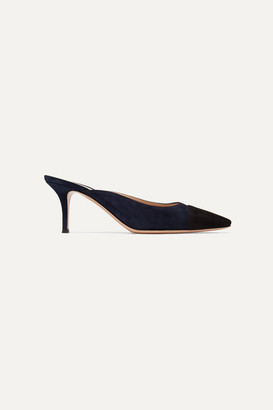 Gianvito Rossi Lucy 70 Two-tone Suede Mules