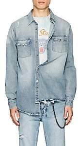 Ksubi Men's Frontier Distressed Cotton Denim Shirt - Blue