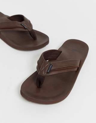 Hollister tab logo leather flip flops in dark brown