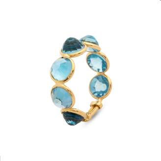 Tresor Collection Blue Topaz Round Rose Cut Ring Band In 18K Yellow Gold