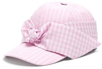 9abc31636f5 COM · Federica Moretti Lu Striped Bow Embellished Cap - Womens - Pink