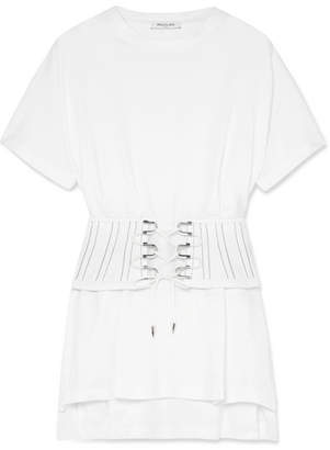 Thierry Mugler Lace-up Cotton-jersey Top - Off-white