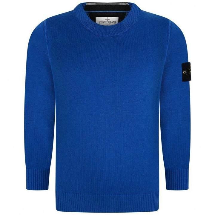 Stone IslandBoys Blue Cotton Knit Sweater