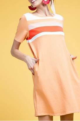 Easel Retro Tri-Color Dress