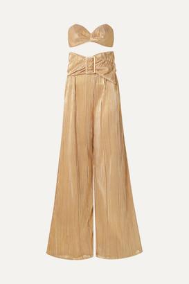 Adriana Degreas Soleil Plissé-lamé Bandeau Top And Wide-leg Pants Set - Gold