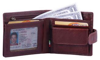 Leather Architect -Men's Real Italian Leather Trifold Tabbed Wallet with Coin Pocket and RFID blocking