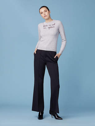 Diane von Furstenberg Fear Is Not An Option Cashmere Crewneck