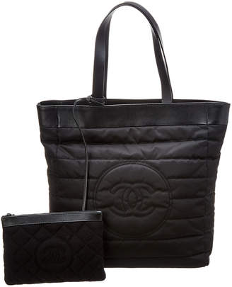 Chanel Black Nylon Cc Tote