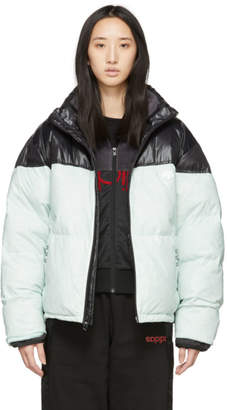 adidas by Alexander Wang Black and Green Down Disjoin Puffer Jacket