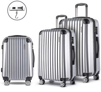 Dwelllifestyle 3 Piece Silver Wanderlite Luggage Trolley Set