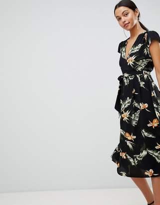 AX Paris Leaf Print Belted Midi Dress