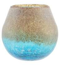 "Northlight 6"" Azure Blue Crackled and Brown Frosted Hand Blown Decorative Glass Vase"