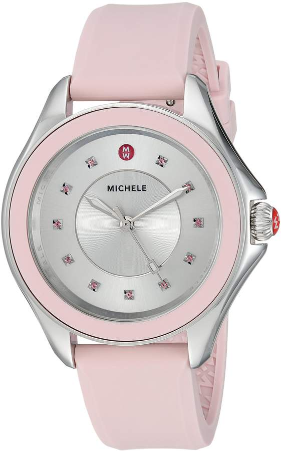 Michele Women's 'Cape Topaz' Swiss Quartz Stainless Steel and Silicone Casual Watch, Color:
