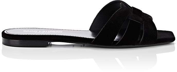 Saint Laurent Women's Nu Pieds Velvet Slide Sandals