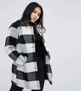 Junarose Collarless Check Coat With Pocket Detail