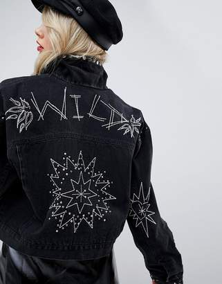 Asos DESIGN denim jacket in washed black with studs and embroidery