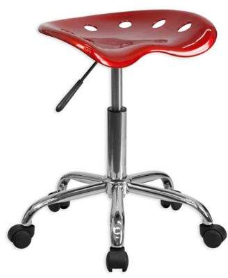 Flash Furniture Vibrant Tractor Seat and Chrome Stool in Red