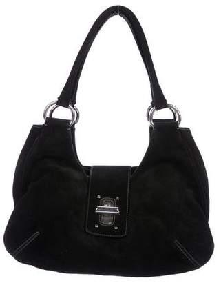 Prada Turn-Lock Scamosciato Shoulder Bag