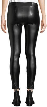David Lerner Tuxedo Side-Striped Vegan Leather Leggings