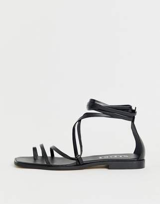62f6417ea Office Seaweed black leather barely there sqaure toe loop sandals