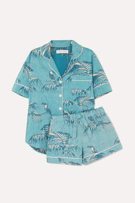 Desmond & Dempsey Printed Cotton-voile Pajama Set - Turquoise