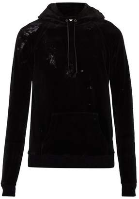 Saint Laurent Cotton Blend Velvet Hooded Sweatshirt - Mens - Black