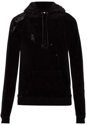 Saint Laurent Cotton Blend Velvet Hooded Sweatshirt - Mens - Black