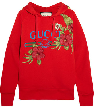 Gucci Embroidered Printed Cotton-jersey Hooded Top