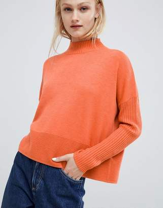 Asos DESIGN eco boxy sweater with ripple hem