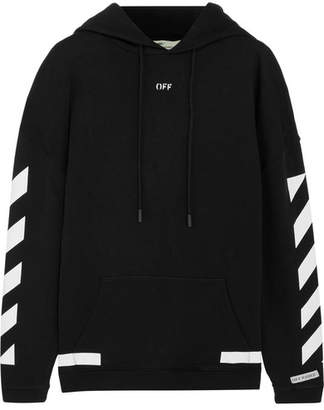 Off-White - Oversized Printed Cotton-jersey Hooded Top - Black $520 thestylecure.com