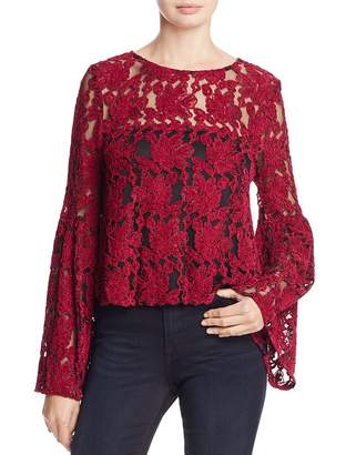 Cupcakes And Cashmere Florent Embroidered Bell Sleeve Top