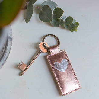 Pepper Alley Gold / Silver Leaf Personalised Heart Key Ring