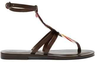 Álvaro González Ariana Feather T Bar Leather Sandals - Womens - Brown Multi