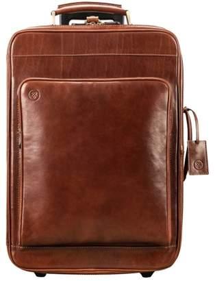 Maxwell Scott Bags High Quality Italian Leather Wheeled Luggage In Tan