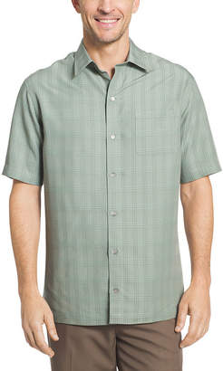 Van Heusen Mens Short Sleeve Grid Button-Front Shirt