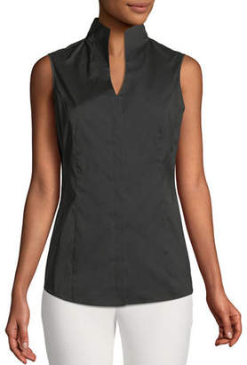 Misook Sleeveless Stretch-Cotton Shirt, Plus Size