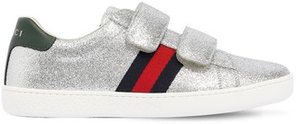 Gucci Glittered Leather Strap Sneakers