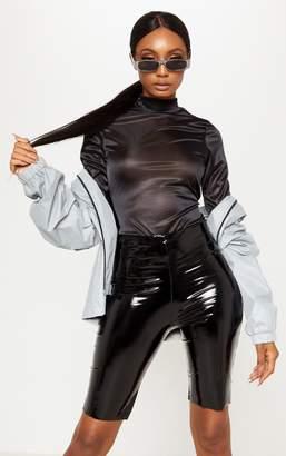 PrettyLittleThing Black High Neck Stretch Satin Bodysuit