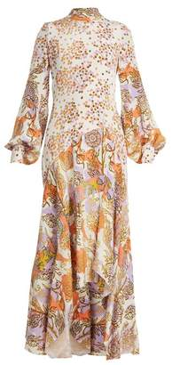 Peter Pilotto Floral Print Balloon Sleeve Silk Dress - Womens - Orange White